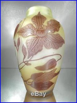 1900-10 Émile Gallé Nancy Joli Vase En Pte De Verre Gravé Art Nouveau
