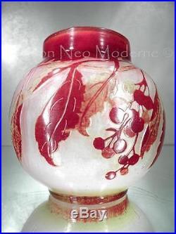 1900-10 Émile Gallé Nancy Petit Vase En Pte De Verre Gravé Art Nouveau