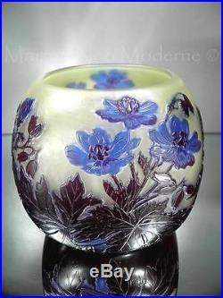 1910/20 Émile Gallé Nancy Vase En Pte De Verre Gravé Art Nouveau