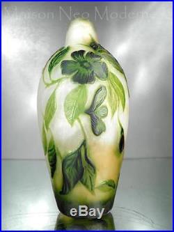 1910-20 Muller Frères Précieux Vase Gravé À L'acide Et À La Roue Art Nouveau