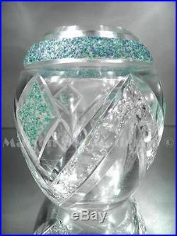 1920/30 Auguste Houillon Nancy Rare Vase En Cristal Taillé Et Gravé Art Déco