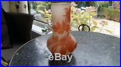 AUTHENTIQUE VASE en pâte de verre ANCIEN SIGNE GALLE haut 15 cm parfait état