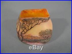 Ancien Petit Vase En Pte De Verre Dégagé A L'acide Décor Lacustre Signé Legras