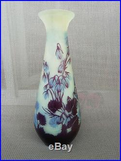 Ancien Vase Art Nouveau Pate De Verre Emile Galle Nancy