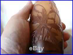 Ancien Vase Ovoide-galle-pate De Verre-art Nouveau-decor Anemones-epoque 1900