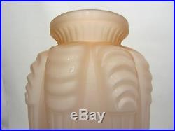 Ancien Vase Verre Rose Signe Espaivet 1930 Art Deco Old Glass Vase Signed Rose