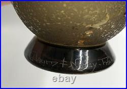 Ancien Vase verre moulé décor dégagé acide DAUM NANCY Art -Déco 1930