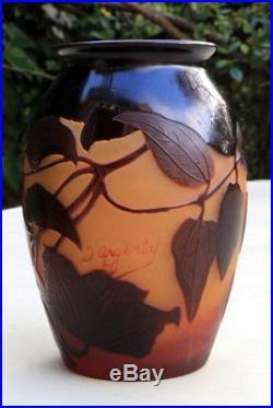 Ancien vase de Paul Nicolas élève de Gallé signé D'Argental Lorraine