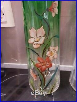 Ancienne Paire De Vase A Rouleau, Art Deco, Montjoye, Legras, Emaille, 1930
