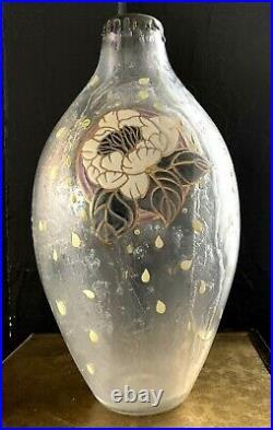 André DELATTE Nancy-Grand Vase Art Deco acide et émaillé-muller-daum-schneider