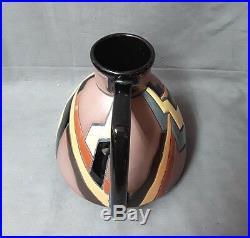 Art Deco / Vase A Anse En Céramique Émaillée Montieres Amiens