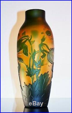 Art Nouveau Grand Vase Pte De Verre Dégagé L'acide Era Daum Galle Vianne Signe