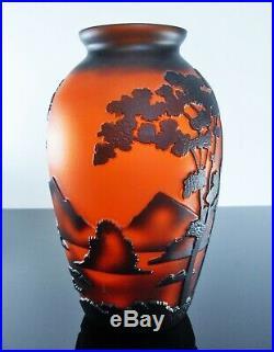 Art Nouveau/ Vase Pte De Verre Dégagé L'acide Era Daum Galle Vianne Signe