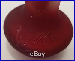 Authentique Vase D'emille Galle Rouge & Jaune Modele A L'etoile
