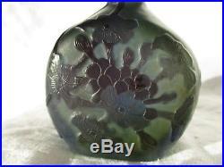 Authentique Vase Galle (1846-1904) Myosotis Degage Acide Ancien Art Nouveau