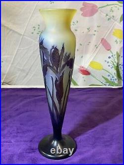 Authentique Vase Galle En Pte De Verre Décor Floral Epoque Art Nouveau An1900