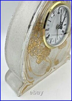 BACCARAT-Rare pendulette art nouveau-cristal dégagé à l'acide doré-daum-muller