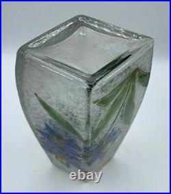 BACCARAT-rare vase art nouveau verre dégagé à l'acide et émaillé vers 1900-daum
