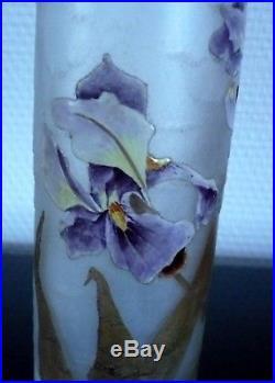 Beau Vase Rouleau Decor Iris Legras Montjoye St Denis Fond Givre Signe