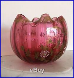 Beau petit vase en cristal émaillé 1900 Baccarat XIXe 19TH Coupe Corolle