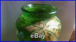 Beau vase Legras baie et feuillage dorées