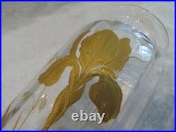 Beau vase art nouveau 1900 iris doré cristal saint louis crystal Vase 20,3cm v69