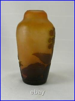 Beau vase dégagé à l'acide, Gallé, signé, excellent état