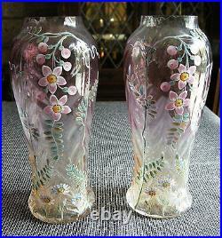 Belle Paire De Vases En Verre Emaille