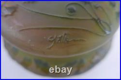 Bonbonnière Signée Emile Gallé À Décors Floral Art Nouveau French Glass