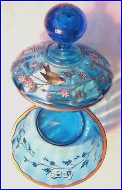 Bonbonnière, sucrier verre bleu George SAND, émaillée Legras Oiseau sur branche