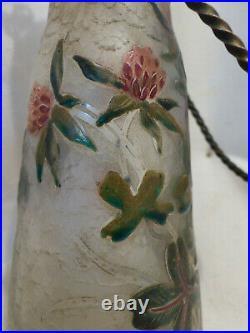 Bouteille de lait ancienne cristal acide emaillée tréfles style Daum Nancy 19eme