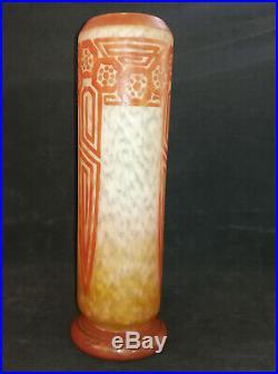 CHARDER, LE VERRE FRANCAIS, Vase rouleau multi-couche orangé, H 29.5 cm