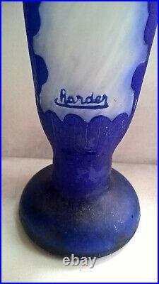 CHARDER Vase Bleu Travaillé à l'Acide Pâte de Verre Myrtilles Charles Schneider