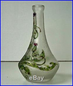 CHOISY LE ROI Vase aux Chardons en Verre Givré Gravé Acide Art Nouveau