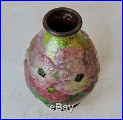 Camille Fauré Enamel Polychrome Flowers Vase Circa 1930