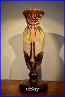 Ch. Schneider Le Verre Français Grand Vase Cygnes Art Déco 1927-1929