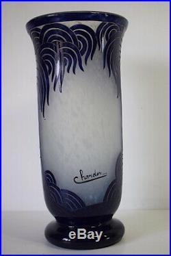 Charder & Le Verre Français Vase Bleu Palmier Art Nouveau Art Deco 1925