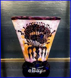 Charder le Verre Français très beau vase pâte de verre Art Déco