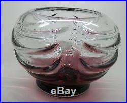 Charles SCHNEIDER, Vase en verre bullé, ton prune en dégradé, H 13.5 cm