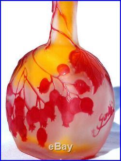 Charmant vase soliflore Gallé aux groseilles, era daum 1900, NO COPY