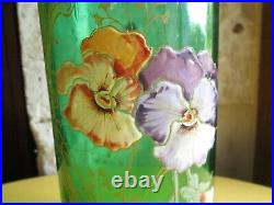 Collection beau vase rouleau Legras Art Nouveau pensées en excellent état