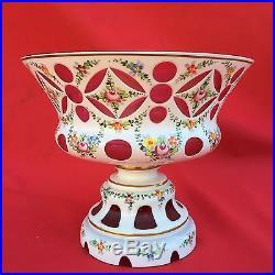 Coupe Vase Overlay D'opaline / Cristal De Boheme / Moser