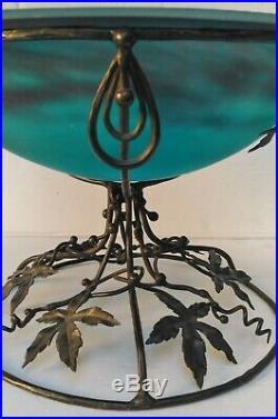 Coupe vasque Art Nouveau / déco Muller Frères Lunéville monture fer forgé signée