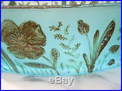 Coupe verre decor floral Vallérysthal époque Art Nouveau vers 1920