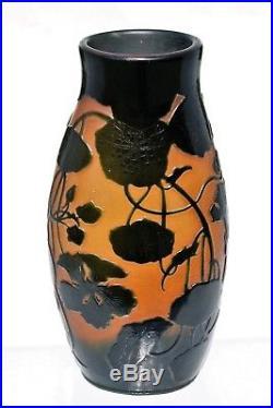 D'ARGENTAL Paul Nicolas Imposant Vase Pâte de Verre Gravé Art Déco gallé Ht30cm