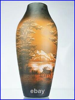 D'Argental Paul Nicolas Grand Vase Brâme du Cerf Verre Gravé Art Déco Gallé