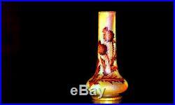 DAUM, NANCY. Chardons. Vase en verre à décor dégagé à l'acide, vers 1890