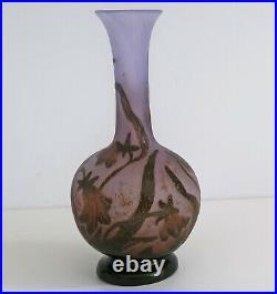 DAUM NANCY Vase Soliflore Campanules Verre Gravé à lAcide vers 1900