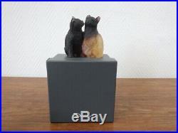 DAUM Nancy France COUPLE DE CHATS dans leur boite d'origine Pate de verre CATS