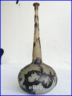 DAUM Nancy GRAND VASE Soliflore Circa 1890 Signe CHARDONS Noirs Verre Givre Art